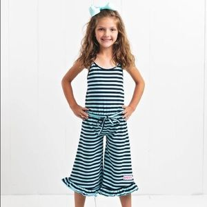 Ruffle Girl Navy Stripe Ruffle Capri Romper